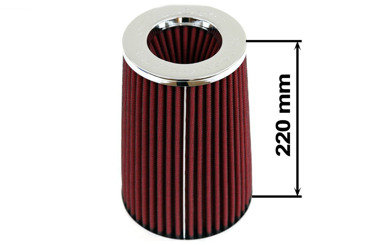 Filtr stożkowy SIMOTA JAUWS-022A 60-77mm Red - GRUBYGARAGE - Sklep Tuningowy